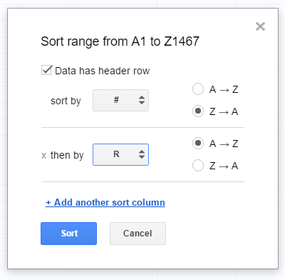 Image of the sorting screen as it appears in Google Sheets.