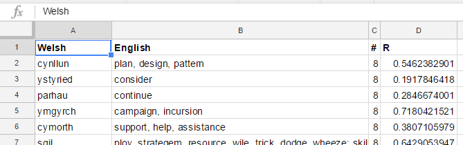 Screen cap of the top of the Words tab of my spreadsheet, with the highest-scoring words at the top.