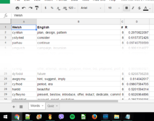 Screenshot of the Words tab of a spreadsheet as described, with the middle cropped out so top and bottom fit in a reasonable-sized image.
